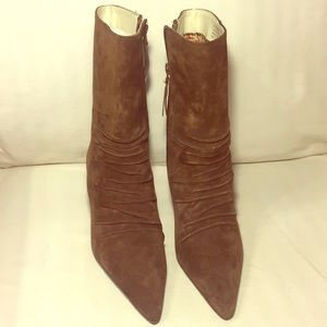 REPORT brown leather Victorian POINT boot 8 NEW